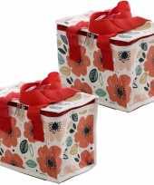 Set van 2x stuks kleine koeltassen voor lunch rood wit met klaprozen print 16 x 21 x 14 cm 4 7 liter