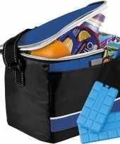 Zwart blauwe koeltas met 4x koelelementen set